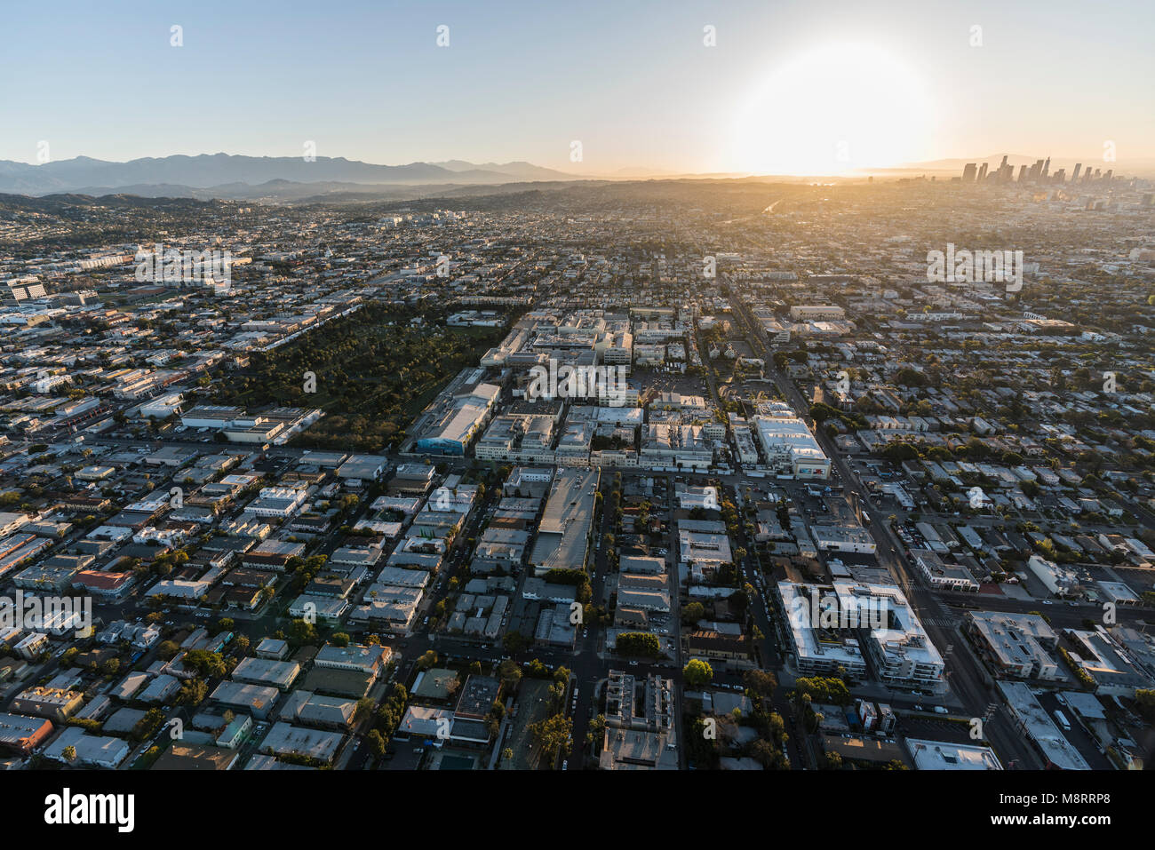 Los Angeles, California, USA - February 20, 2018:  Sunrise aerial view towards Paramount Pictures Studio in Hollywood - Stock Image