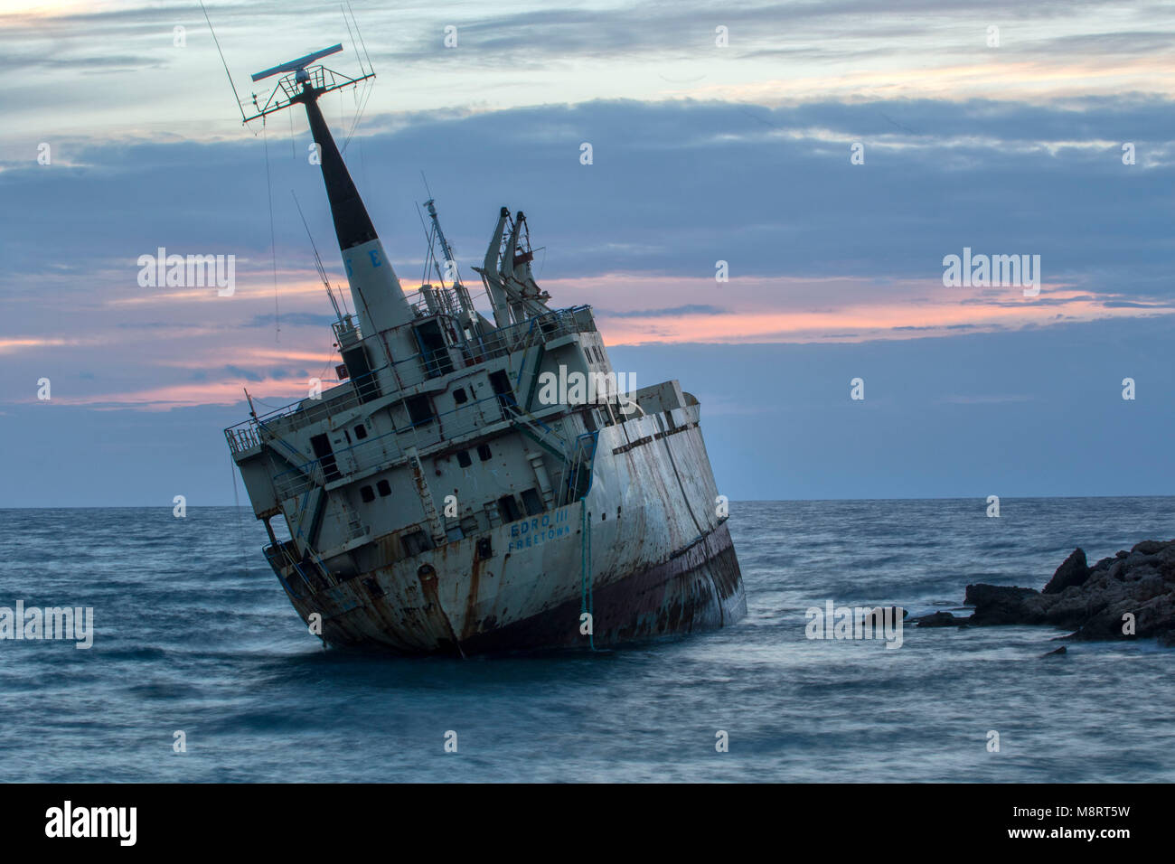 The Edro 3 shipwreck off the coast of Pegeia at sunset, Paphos district, Cyprus, Mediterranean - Stock Image