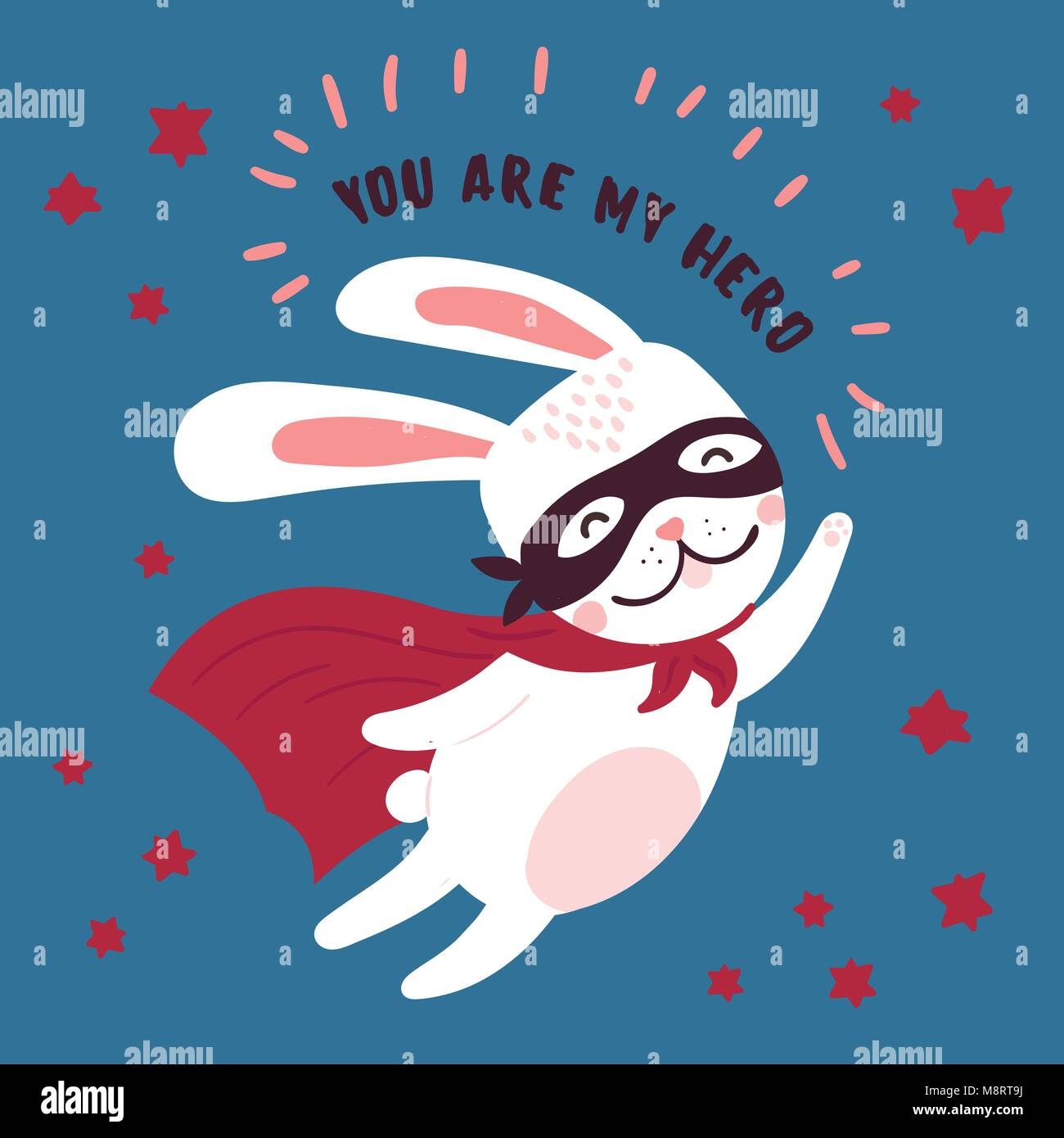 Rabbit in superhero mask and cloak.You are my hero - Stock Vector