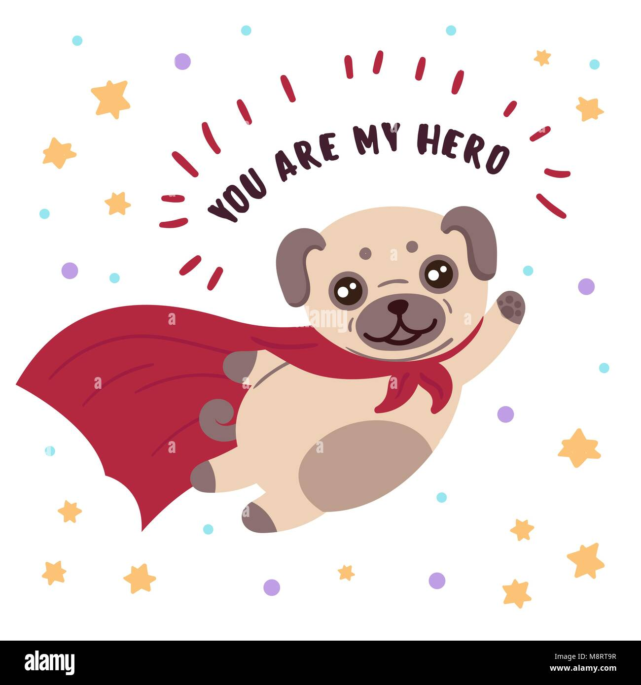 Pug in superhero mask and cloak.You are my hero - Stock Vector