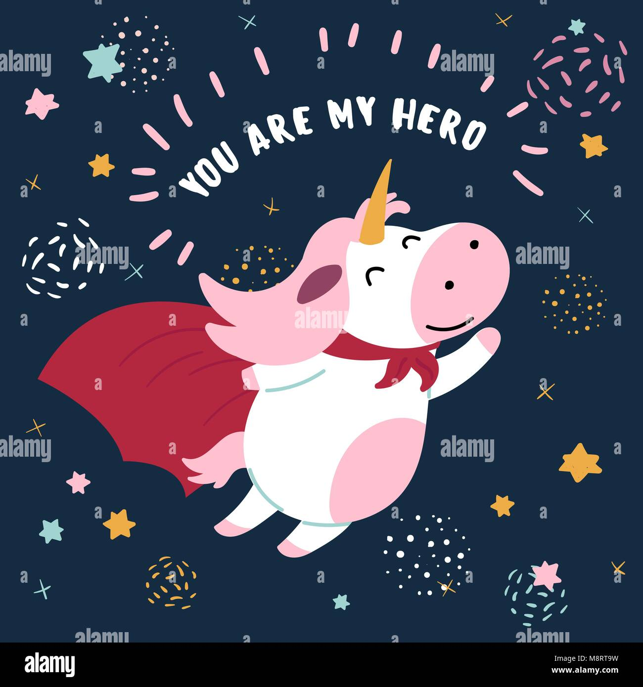 Cow in superhero mask and cloak.You are my hero - Stock Vector