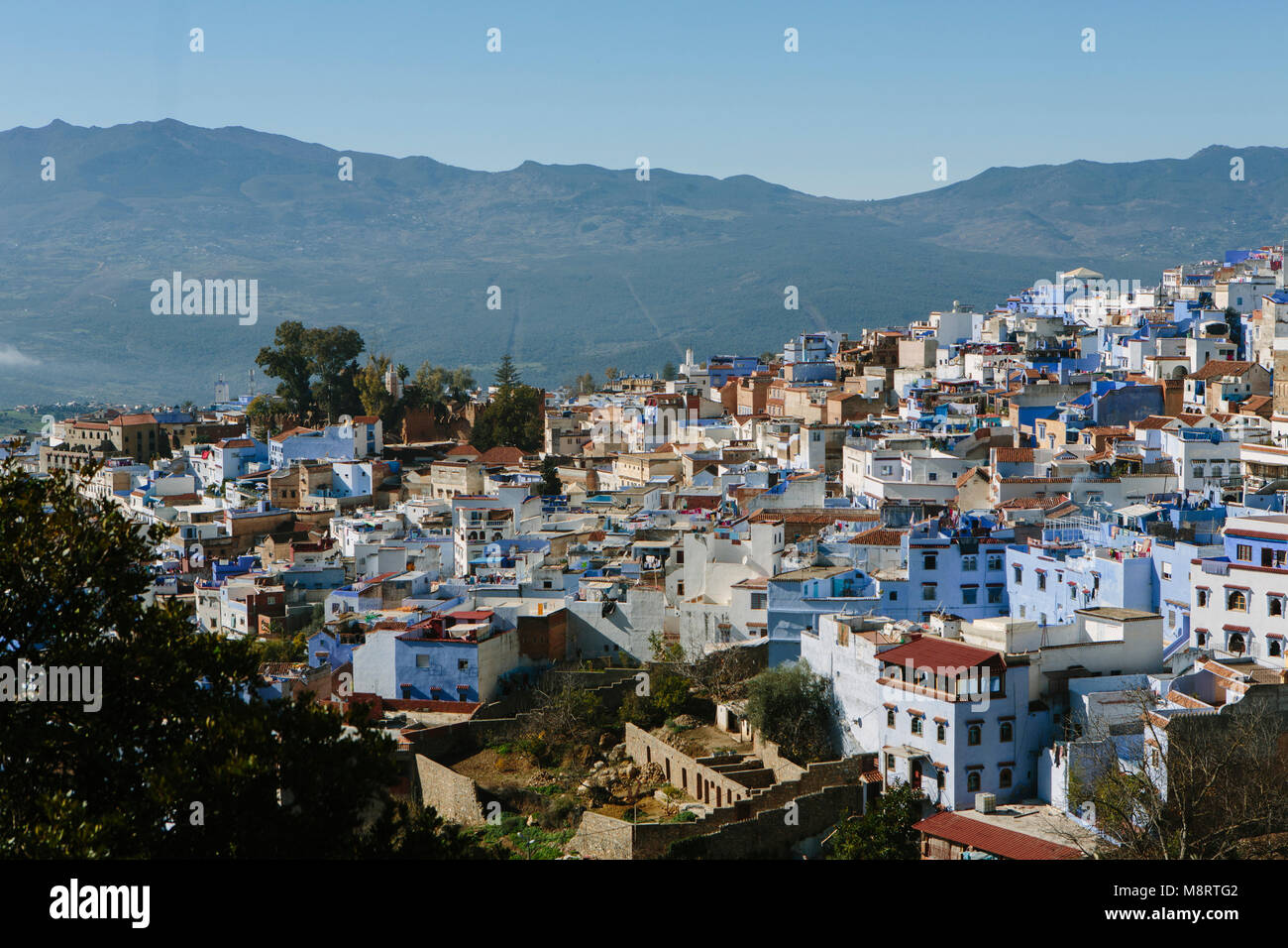 High angle view of cityscape against mountain - Stock Image