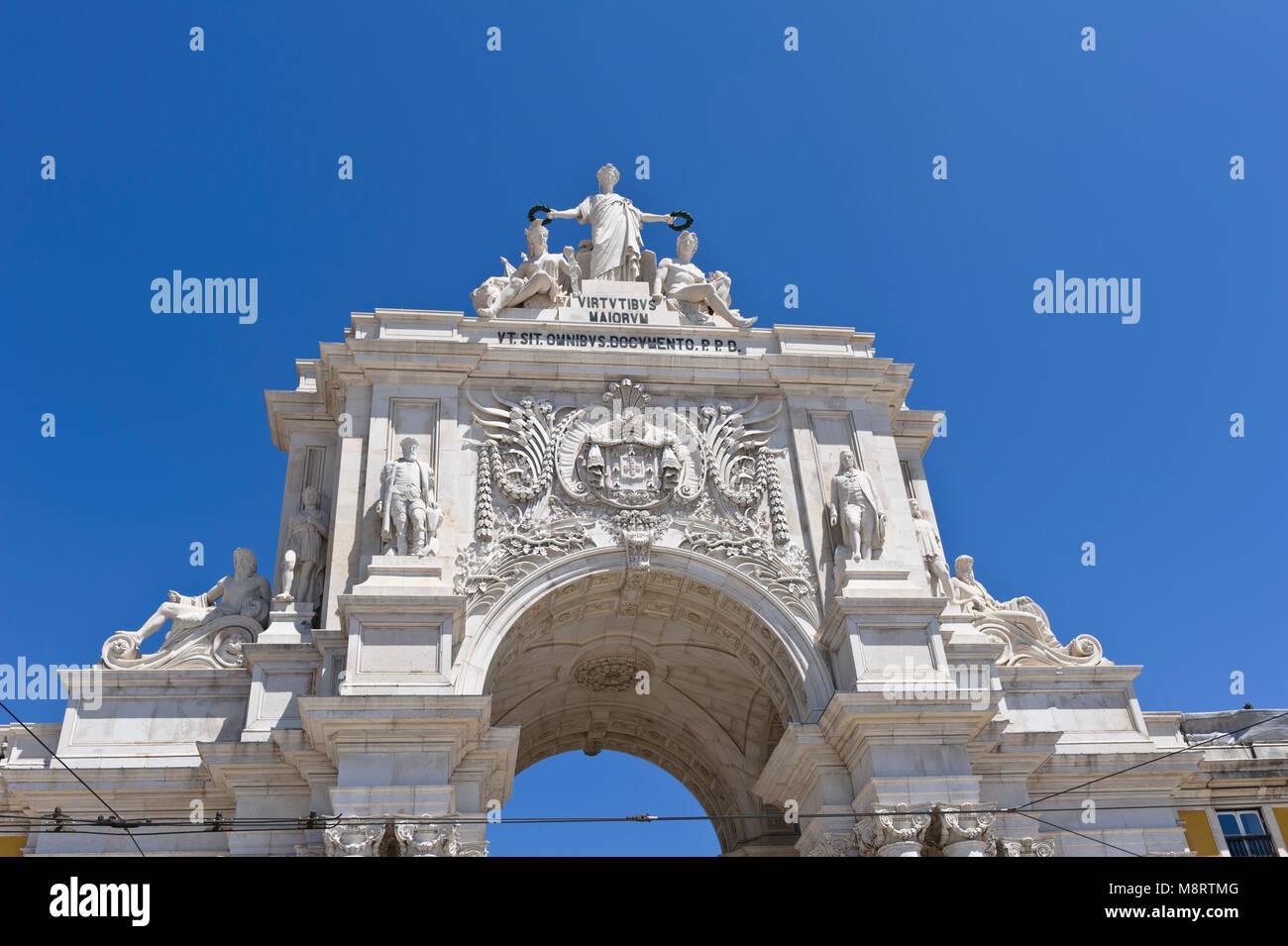 Rua Augusta Arch in Commerce Square, Lisbon, Portugal - Stock Image