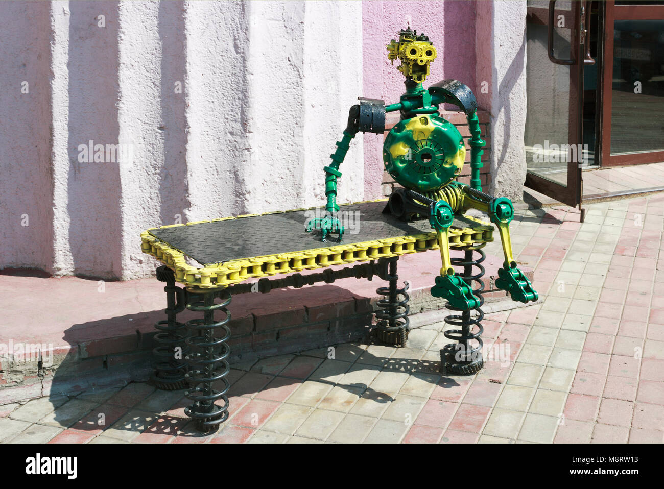 The sculpture is made out of car parts Stock Photo
