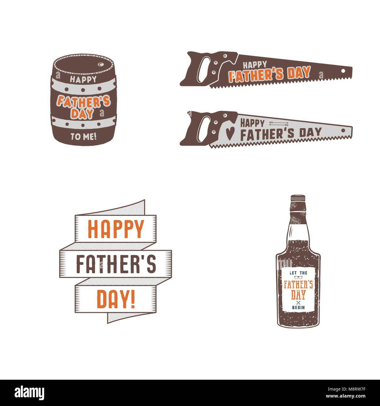 Fathers day badges, labels collection. Holiday stickers for t shirts and other identity. Retro color design. Vintage - Stock Image