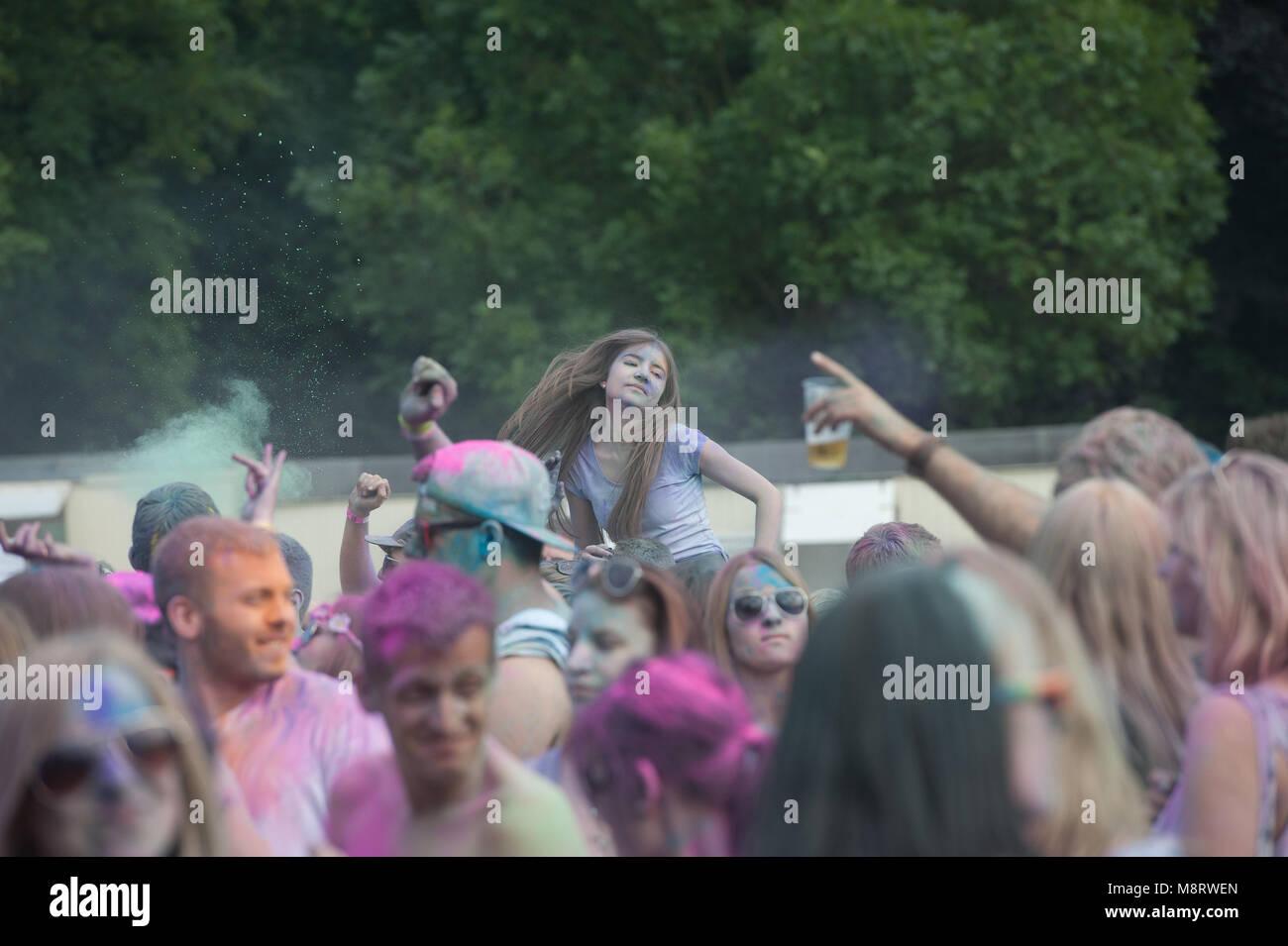 Holi-Event im Ebert-Park. - Stock Image