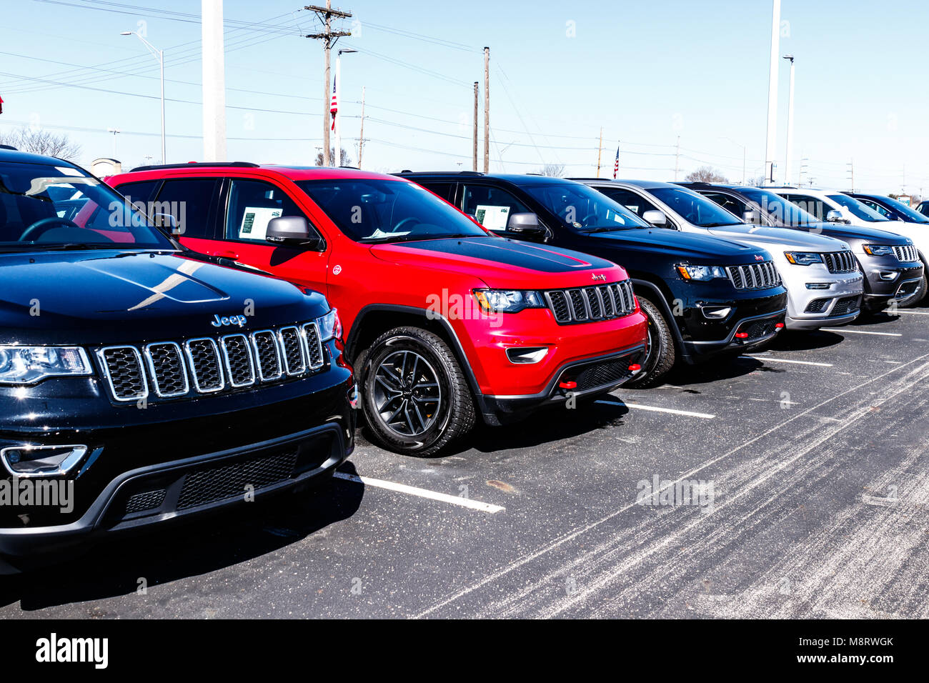 Noblesville - Circa March 2018: Jeep Automobile Dealership. Jeep is a subsidiary of Fiat Chrysler Automobiles. FCA Stock Photo