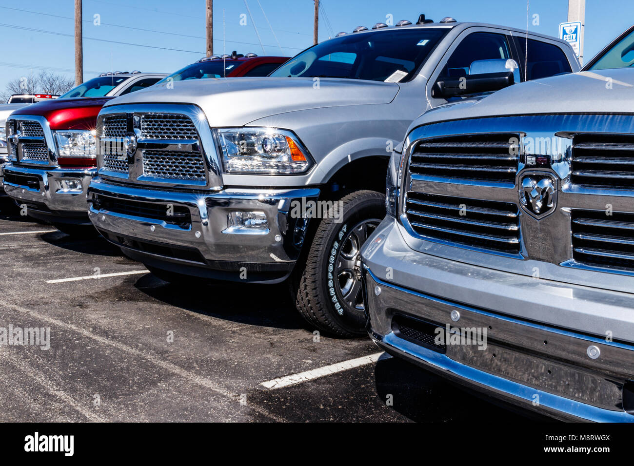 Noblesville - Circa March 2018: Ram Truck Dealership. Ram is a subsidiary of Fiat Chrysler Automobiles. FCA is the Stock Photo