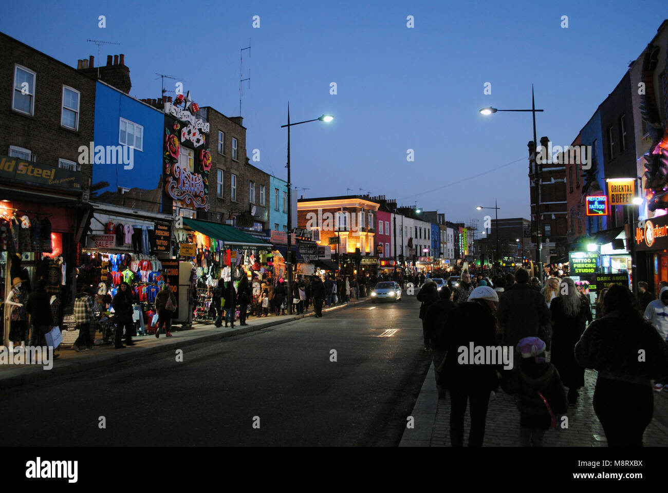 The bustling crowd at Camden Market in London, United Kingdom. - Stock Image