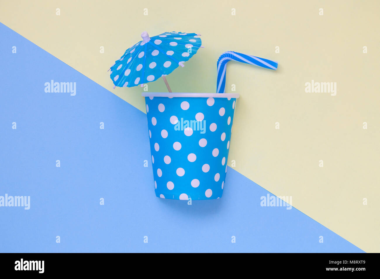 Tropical Drink Minimal Creative Summer Flat Lay Concept Made Of Paper Polka Design Cup Umbrella And Drinking Straw On Pastel Background