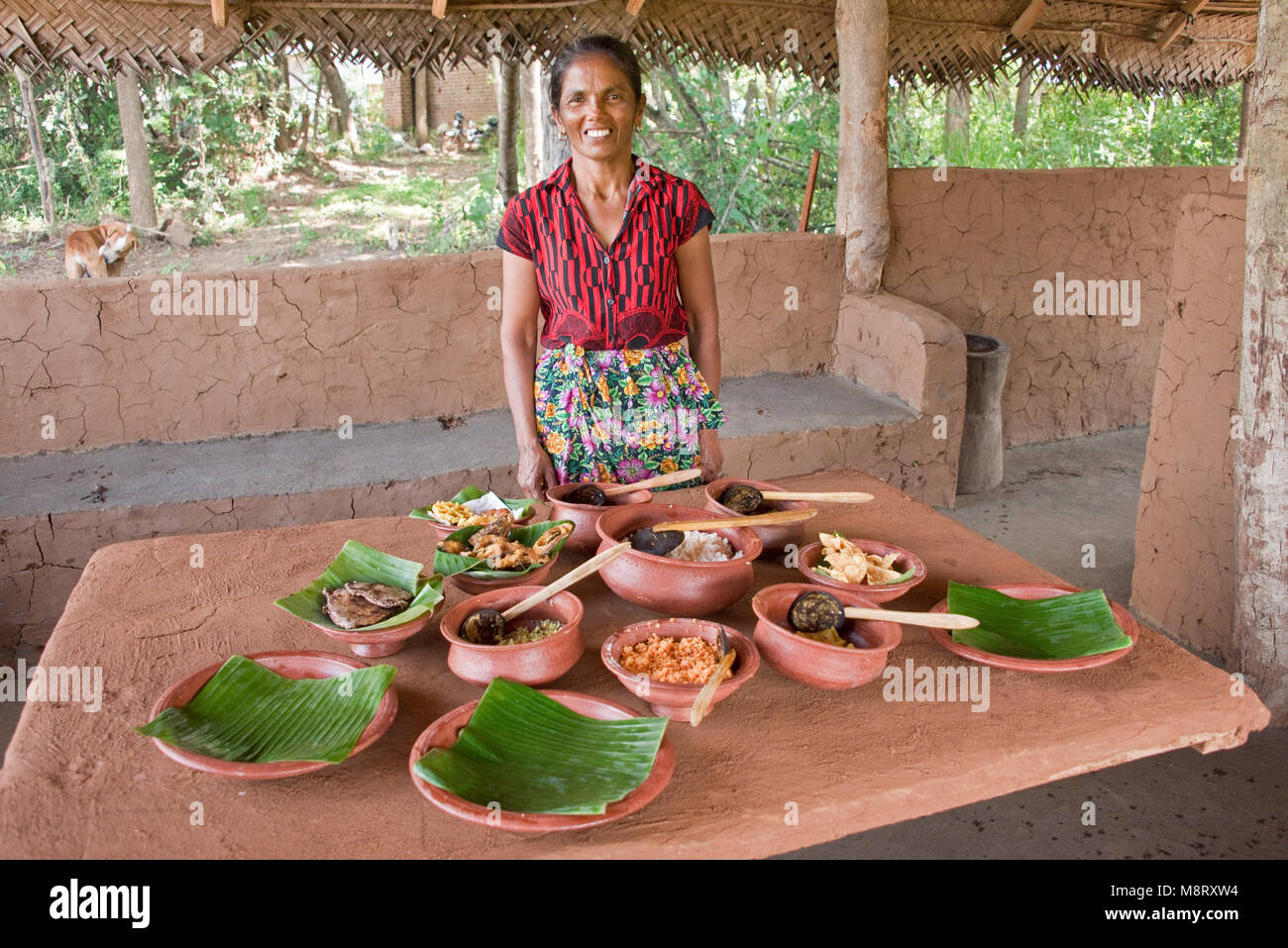 A friendly local Sri Lankan woman posing with traditional Sri Lankan food she has just prepared at her home, a small - Stock Image
