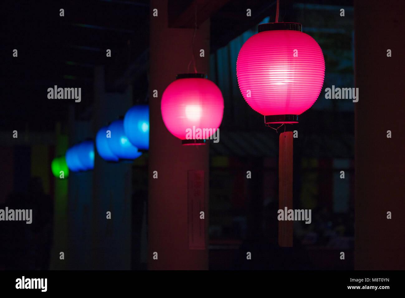 Coloured Japanese lanterns, also known as Chōchin (提灯). Stock Photo