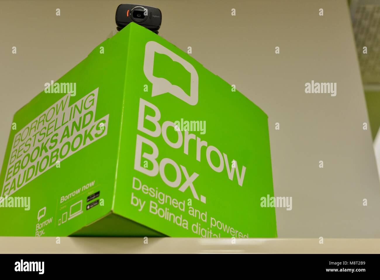 Borrow box and borrowing booth at a library, CityLibraries Aitkenvale, Townsville Queensland, Australia - Stock Image
