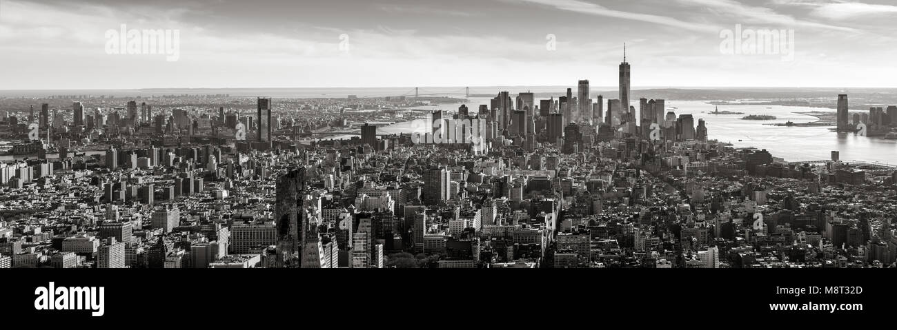 Aerial panoramic view of Lower Manhattan in Black and White. New York City Stock Photo