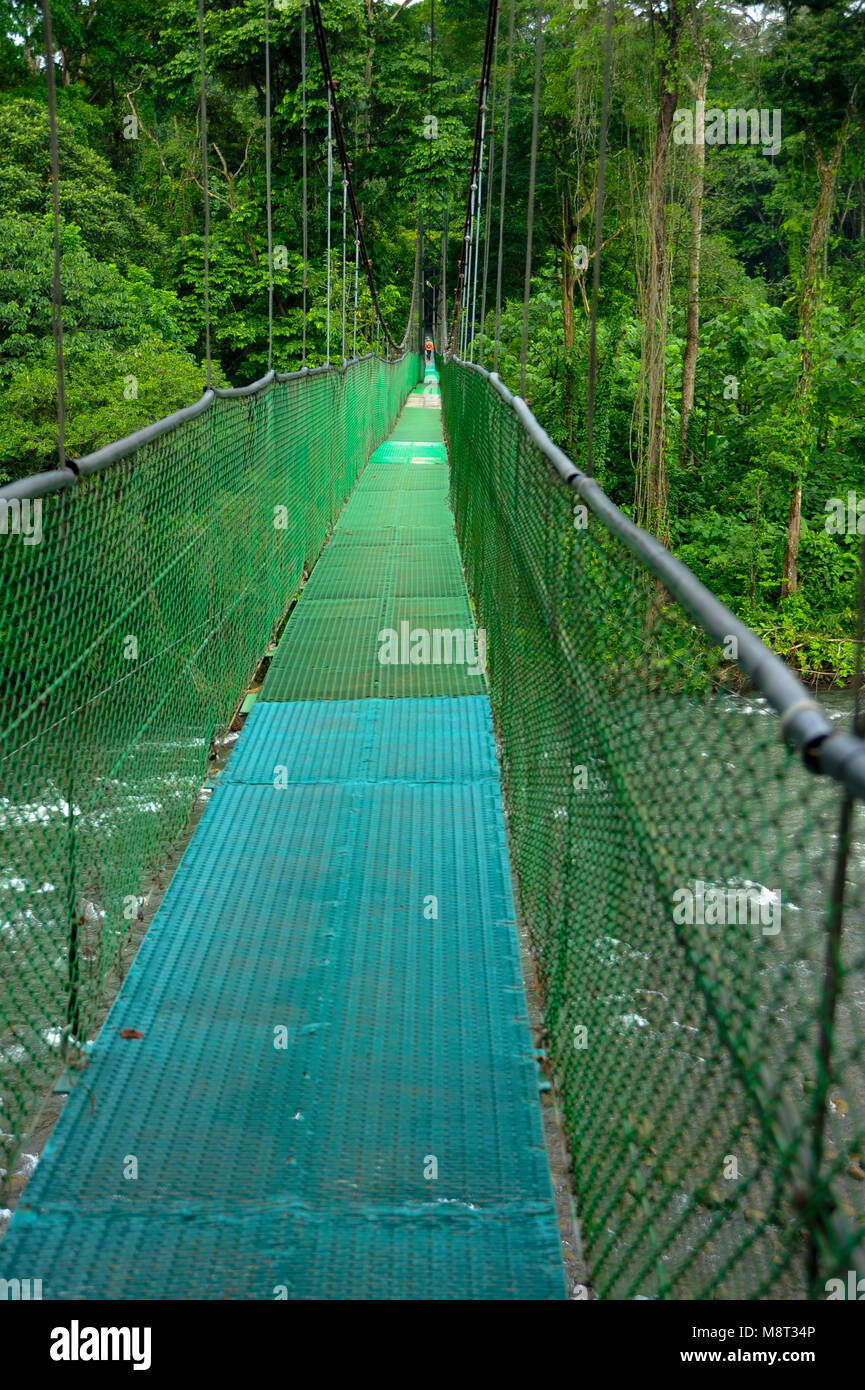 A suspension foot bridge over the Sarapiquí river allows further exploration of the rainforest biodiversity in Tirimbina Stock Photo