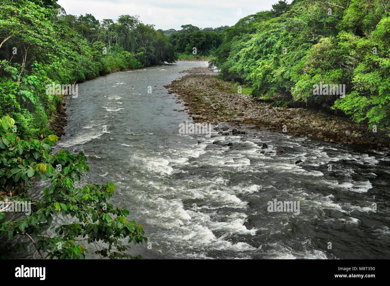 The Sarapiquí river flows through the Tirimbina Biological Reserve in Costa Rica. Stock Photo