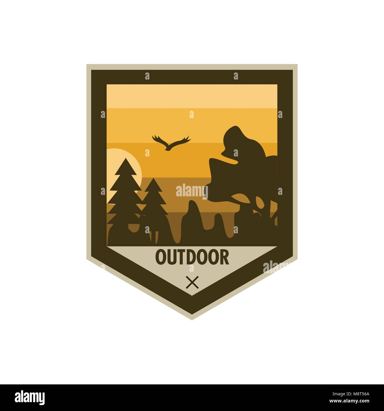 Outdoor Edgy Shield Adventure Badge Vector Illustration Graphic Design - Stock Vector