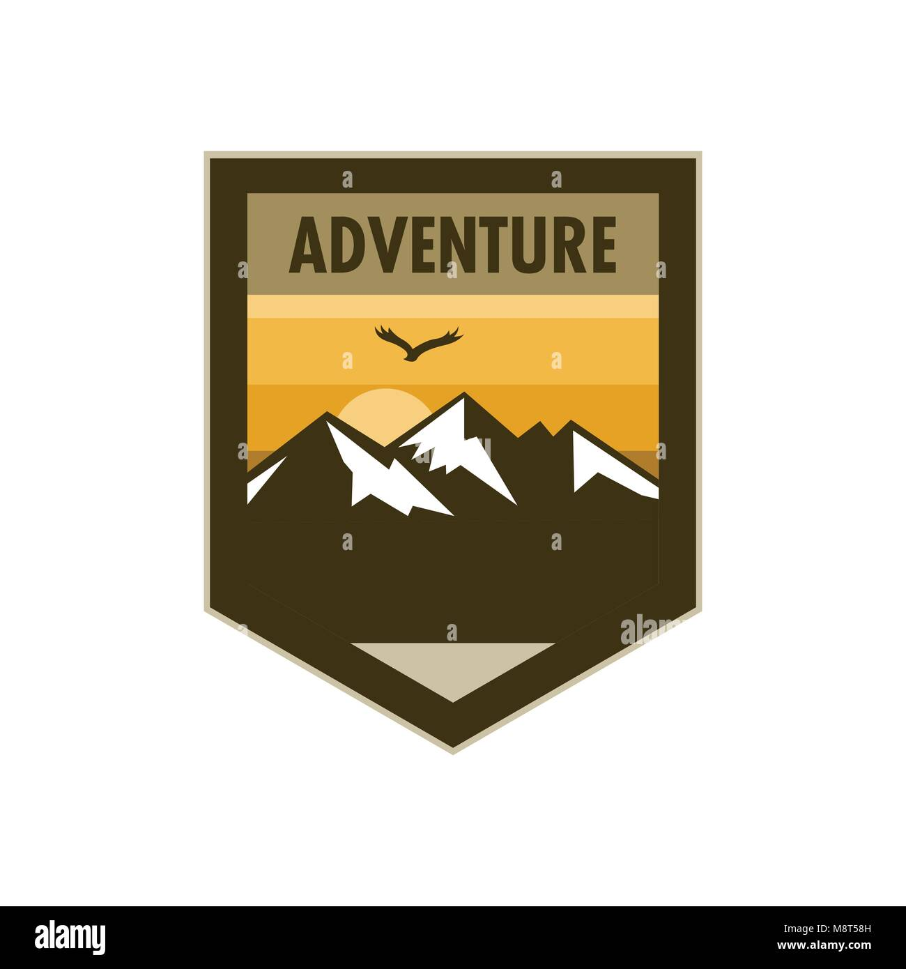 Orange Scene Mountain Adventure Edgy Shield Badge Vector Illustration Graphic Design - Stock Vector