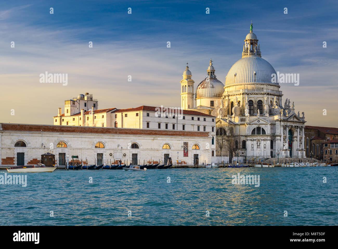Grand Canal with Basilica Santa Maria della Salute in Venice, Italy - Stock Image