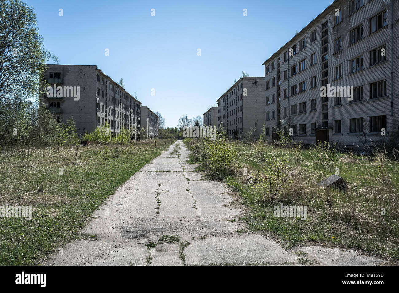 Abandoned soviet apartment blocks in Skrunda, Latvia. Former dormitory district in the soviet military base in Skrunda - Stock Image