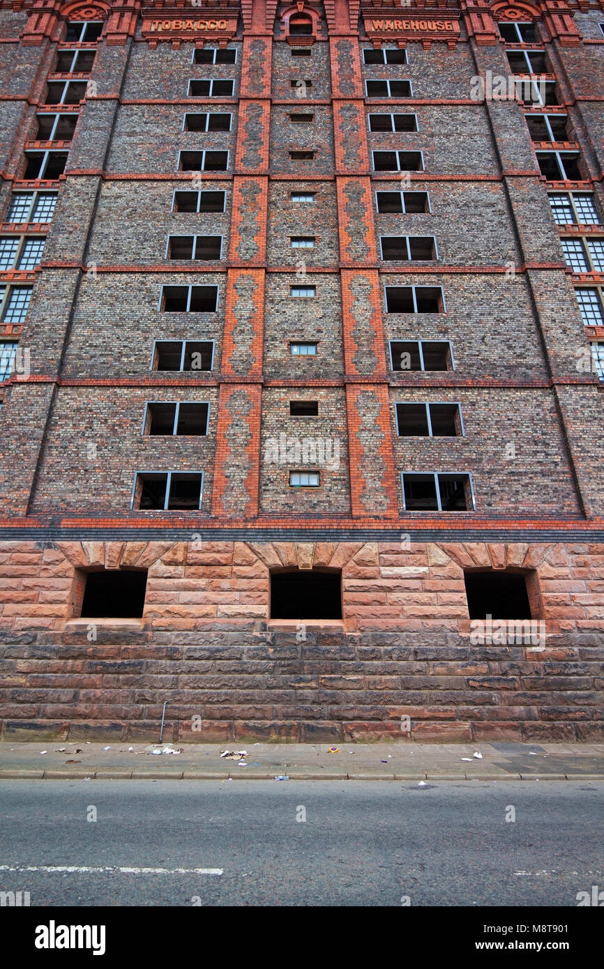 Stanley Dock Tobacco warehouse in Liverpool UK, is a grade II listed building the largest brick building in the Stock Photo