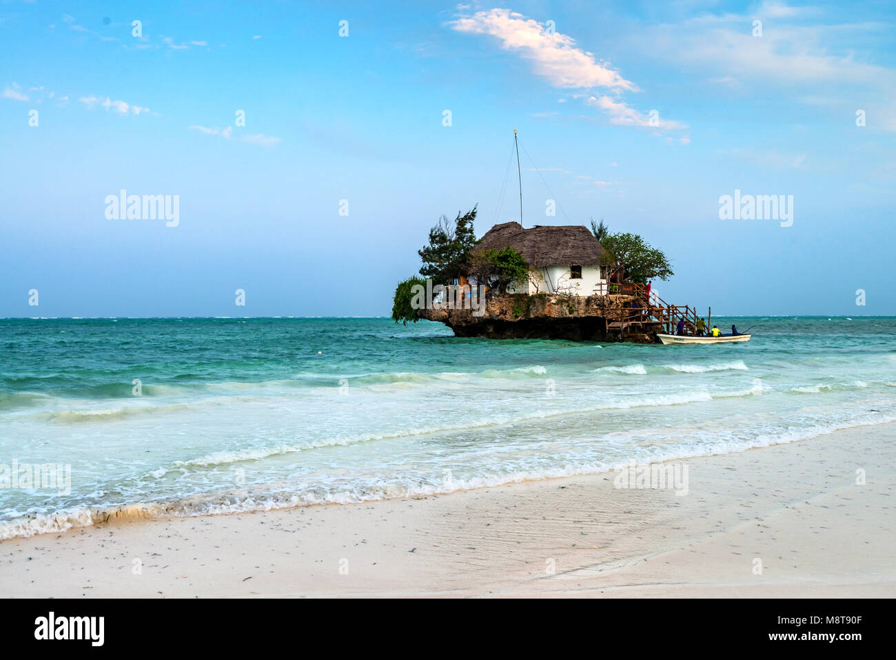 ZANZIBAR ISLAND, TANZANIA - CIRCA JANUARY 2015: Rock restaurant in water - Stock Image