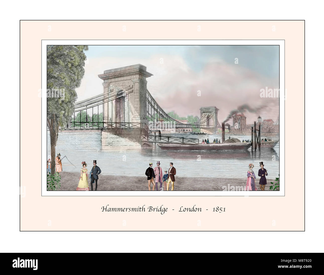 Hammersmith Bridge London Original Design based on a 19th century Engraving - Stock Image