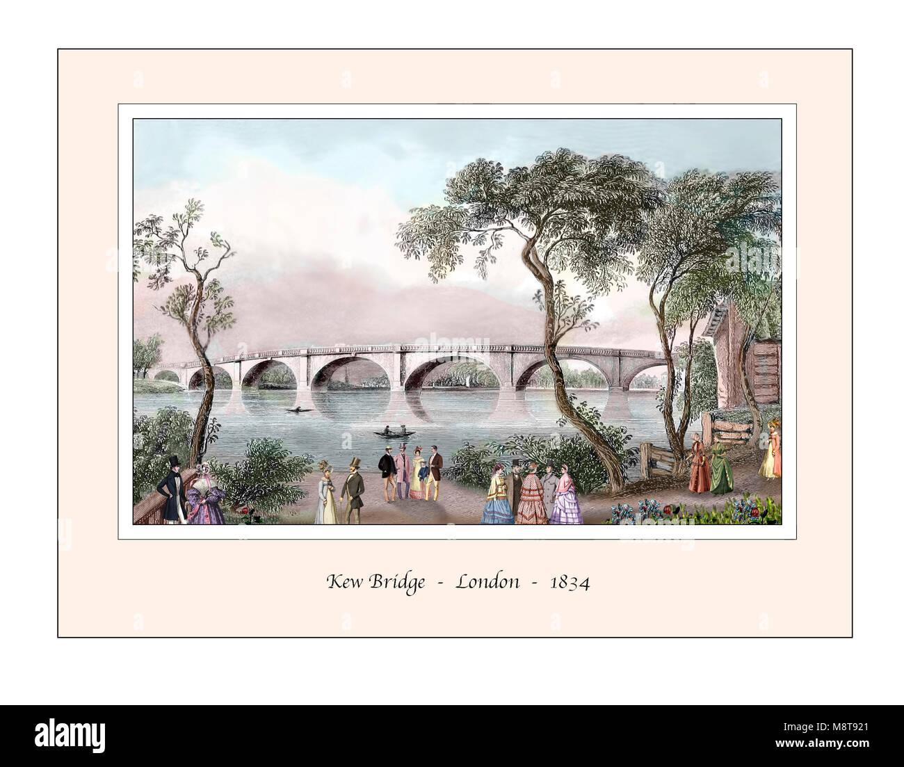 Kew Bridge London Original Design based on a 19th century Engraving - Stock Image