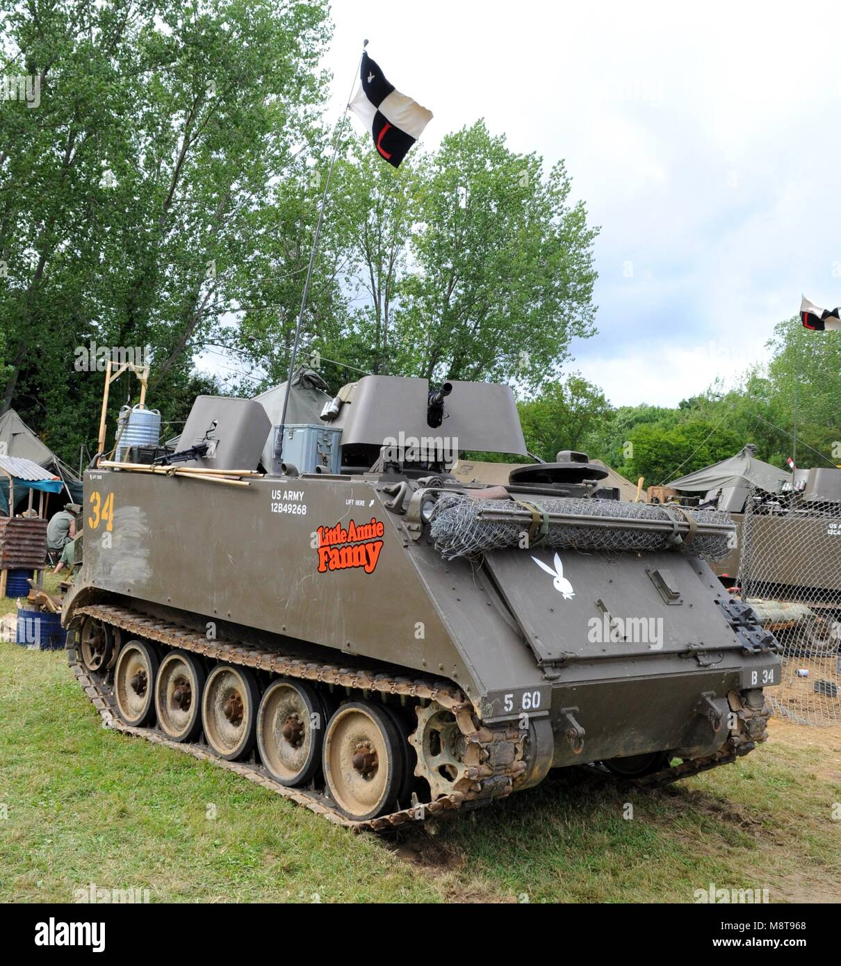 M113 armoured personnel carrier at the 2017 War and Peace Revival at Hop Farm near Paddock Wood, Kent, UK. - Stock Image