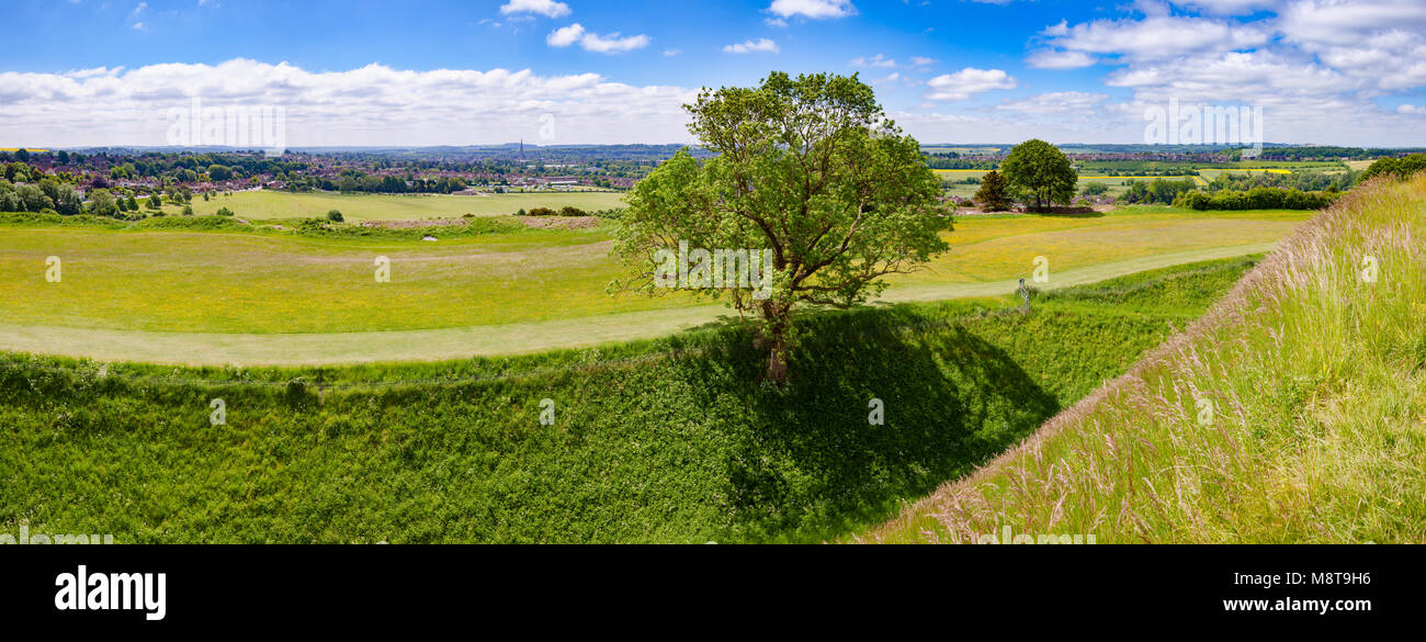 Salisbury cathedral city panoramic view from the Old Sarum, the site of the earliest settlement of Salisbury, Wiltshire, Stock Photo