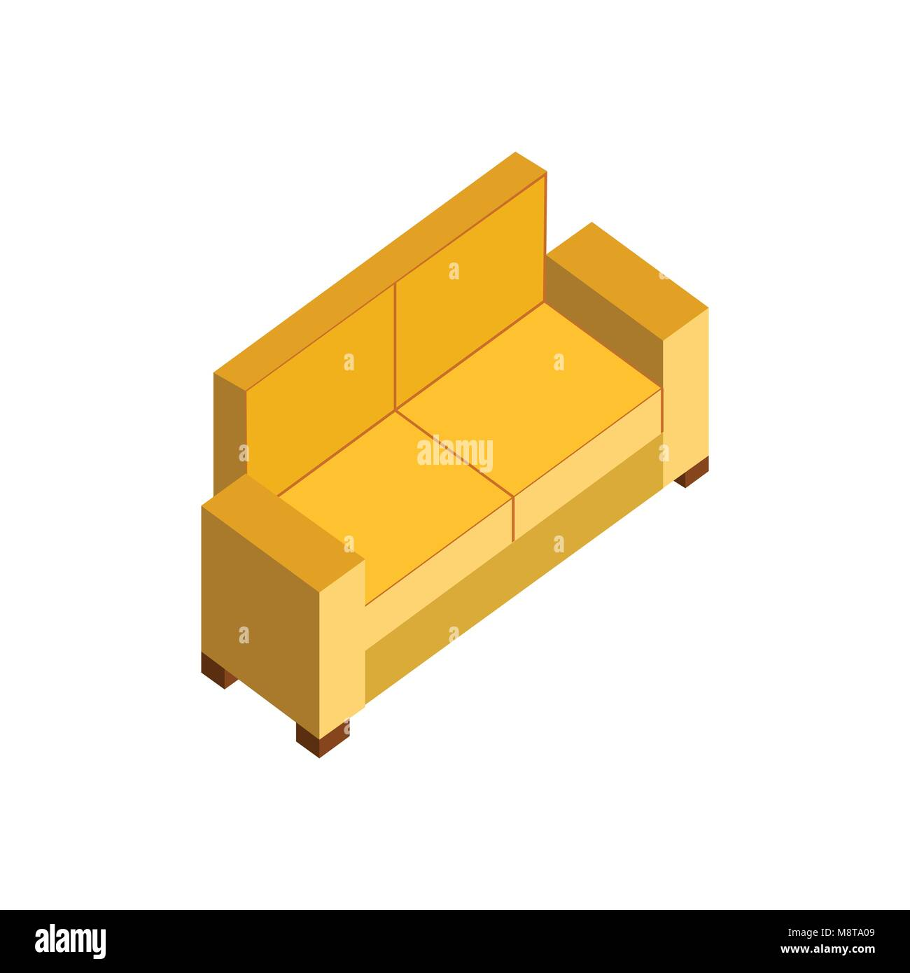 Yellow Sofa Couch 3d Isometric Furniture Vector Illustration Graphic