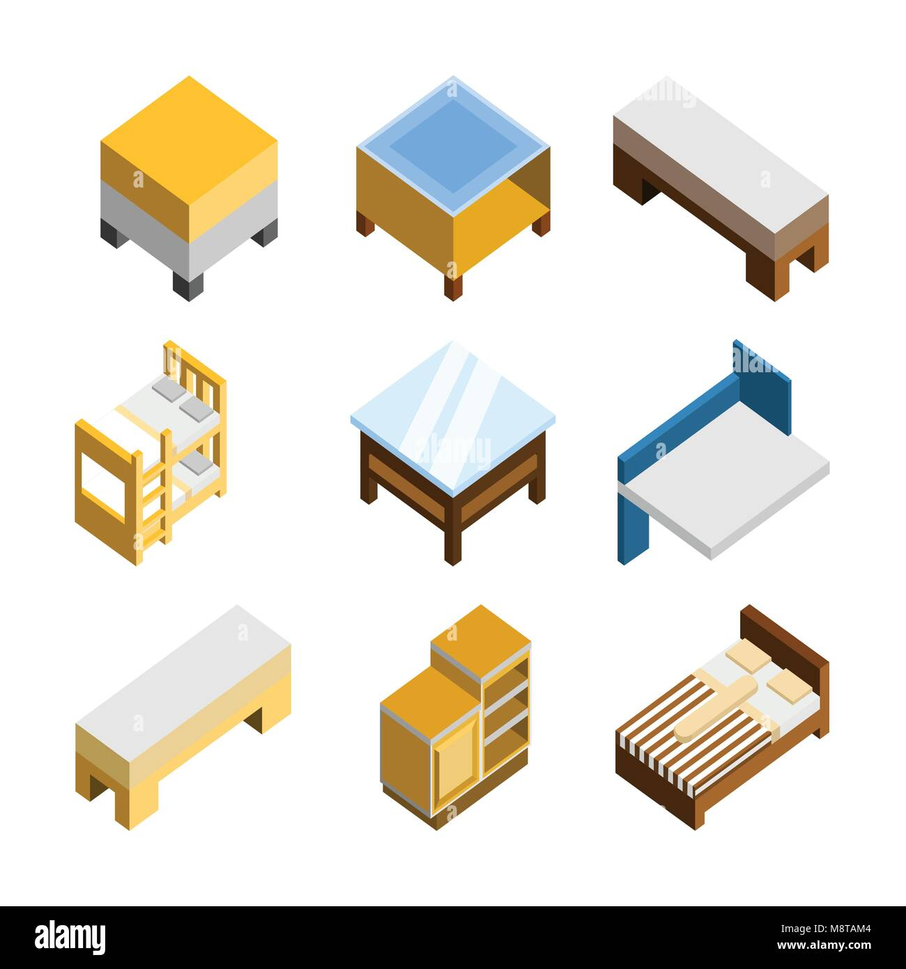 3D Isometric Home Furniture Vector Illustration Graphic Design Set Stock Vector