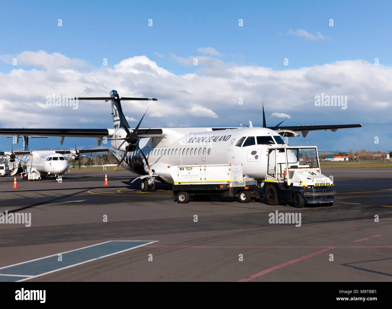An Air New Zealand  ATR 72-600 aircraft,  operated by Mount Cook Airlines after landing at Christchurch International - Stock Image