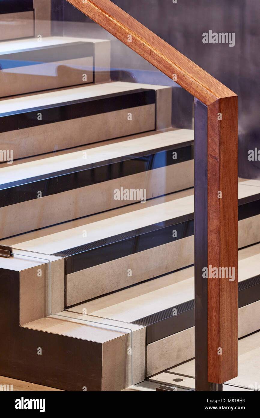 Stairway detail. KXU London, London, United Kingdom. Architect: Stiff + Trevillion Architects, 2017. - Stock Image