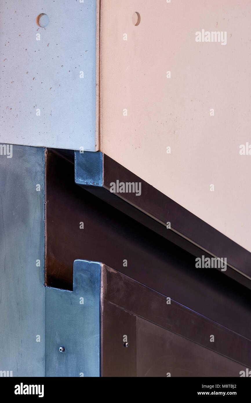 Handrail detail. KXU London, London, United Kingdom. Architect: Stiff + Trevillion Architects, 2017. - Stock Image