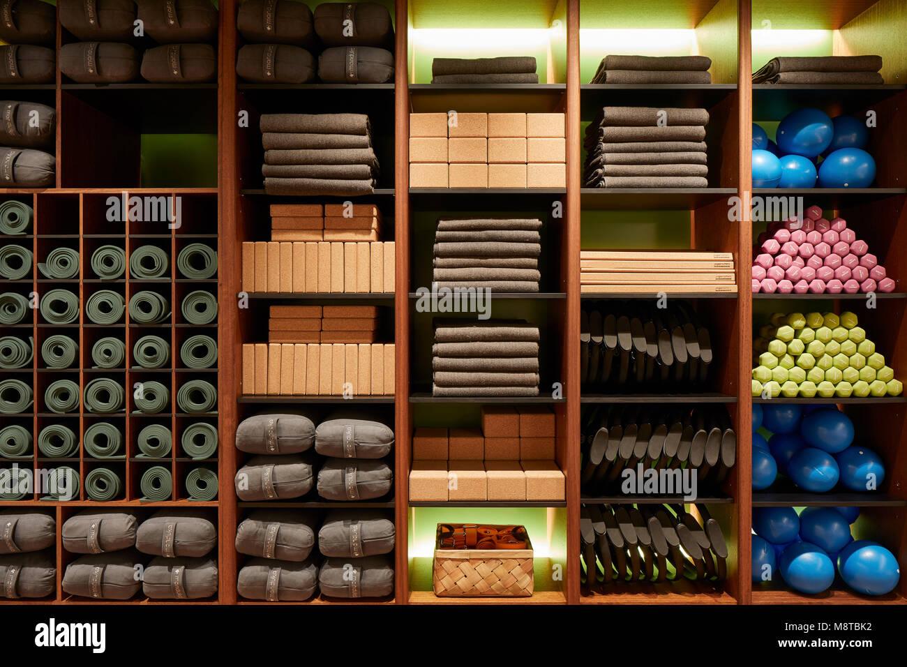 Storage shelf. KXU London, London, United Kingdom. Architect: Stiff + Trevillion Architects, 2017. - Stock Image