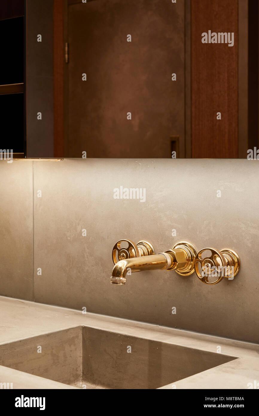 Detail of washbasin and faucet. KXU London, London, United Kingdom. Architect: Stiff + Trevillion Architects, 2017. - Stock Image