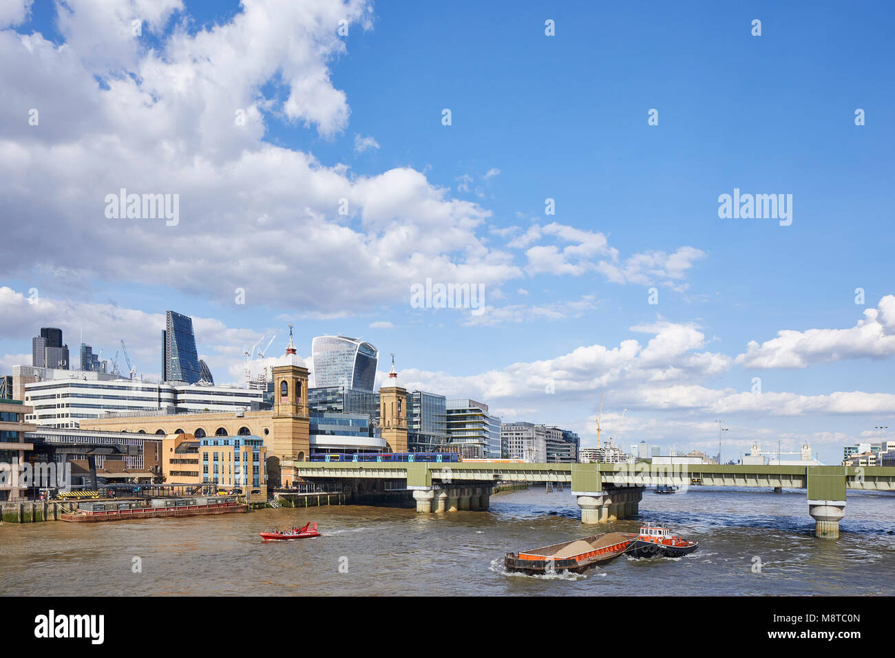 View of the River Thames with 20 Fenchurch Street and Cannon Street Railway Bridge. The River Building, London, Stock Photo