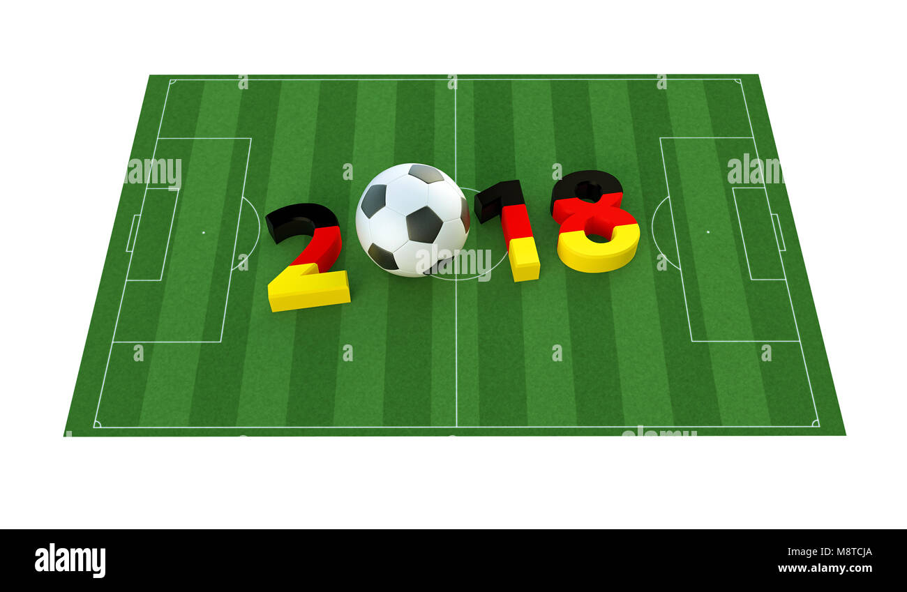 2018 in german flag colors on a soccer field. A soccer ball representing the 0 in 2018. 3D Rendering - Stock Image