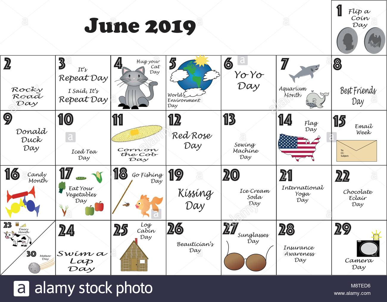 June  2019 monthly calendar illustrated and annotated with daily Quirky Holidays and Unusual Celebrations with Sunday - Stock Vector