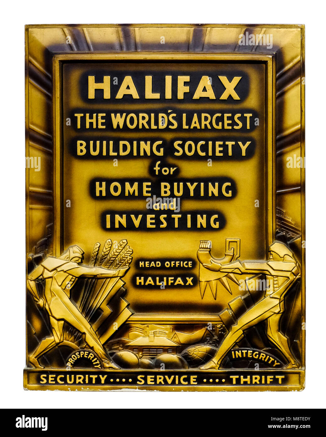 Art Deco advertising / promotional wall plaque for the Halifax Building Society (now part of Lloyds Banking Group). - Stock Image