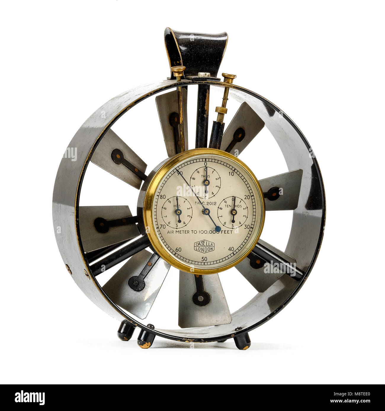 WW1 Royal Flying Corps vane anemometer / air meter made by Casella of London for measuring wind speed - Stock Image