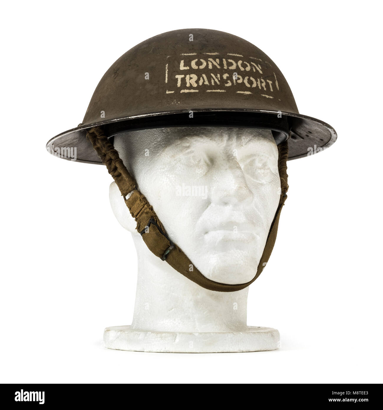 WW2 London Transport helmet used on London buses during the Blitz and also by underground shelter staff - Stock Image