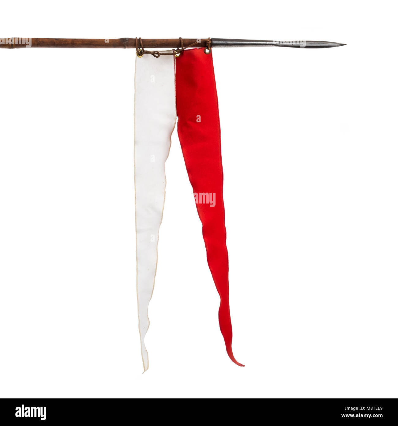 Victorian 1860 Pattern British cavalry lance with bamboo shaft, steel head and she, and red and white pennant - Stock Image
