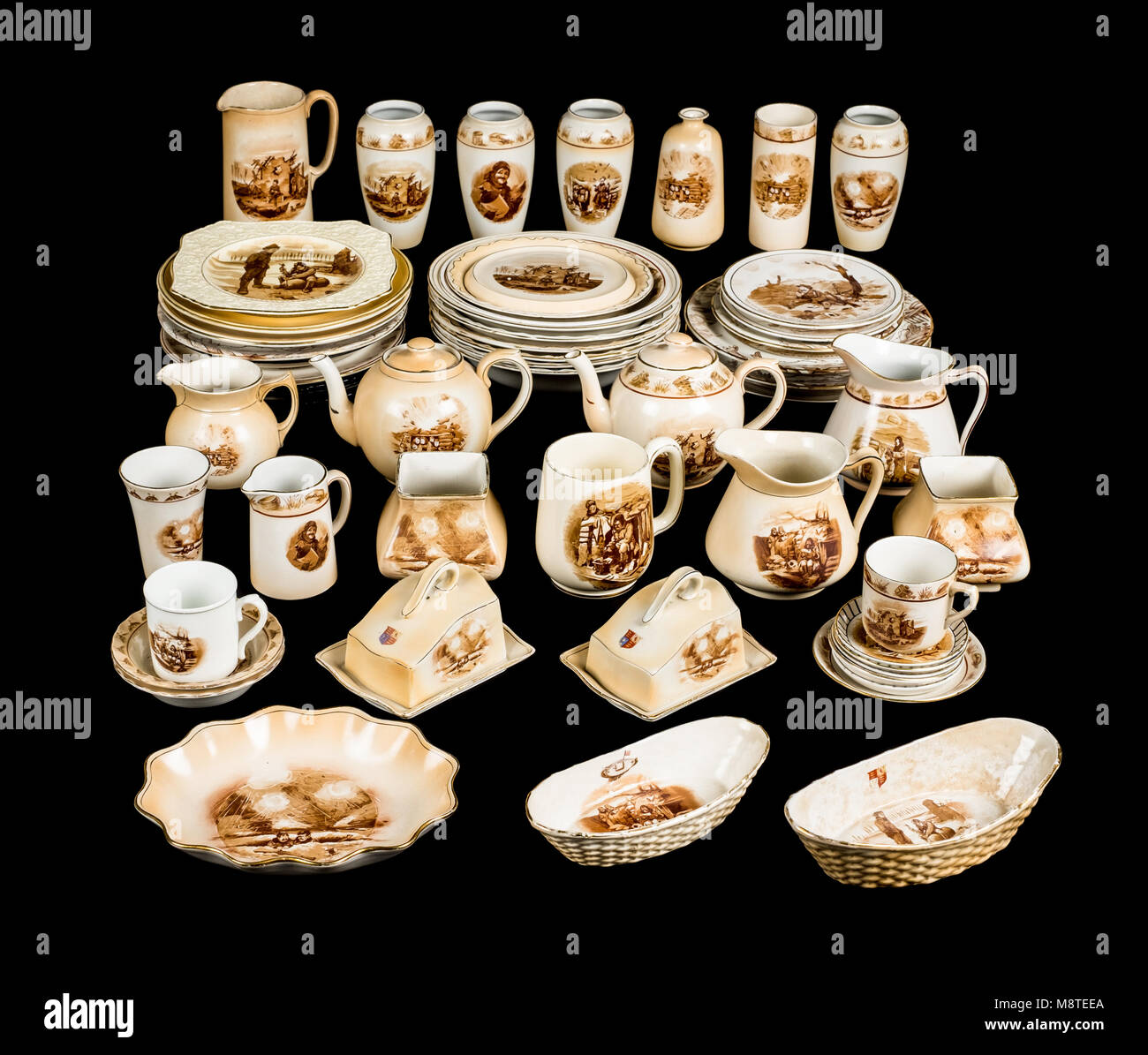 Collection of British pottery (mostly by Grimwades) decorated with 'Old Bill' characters from the famous - Stock Image