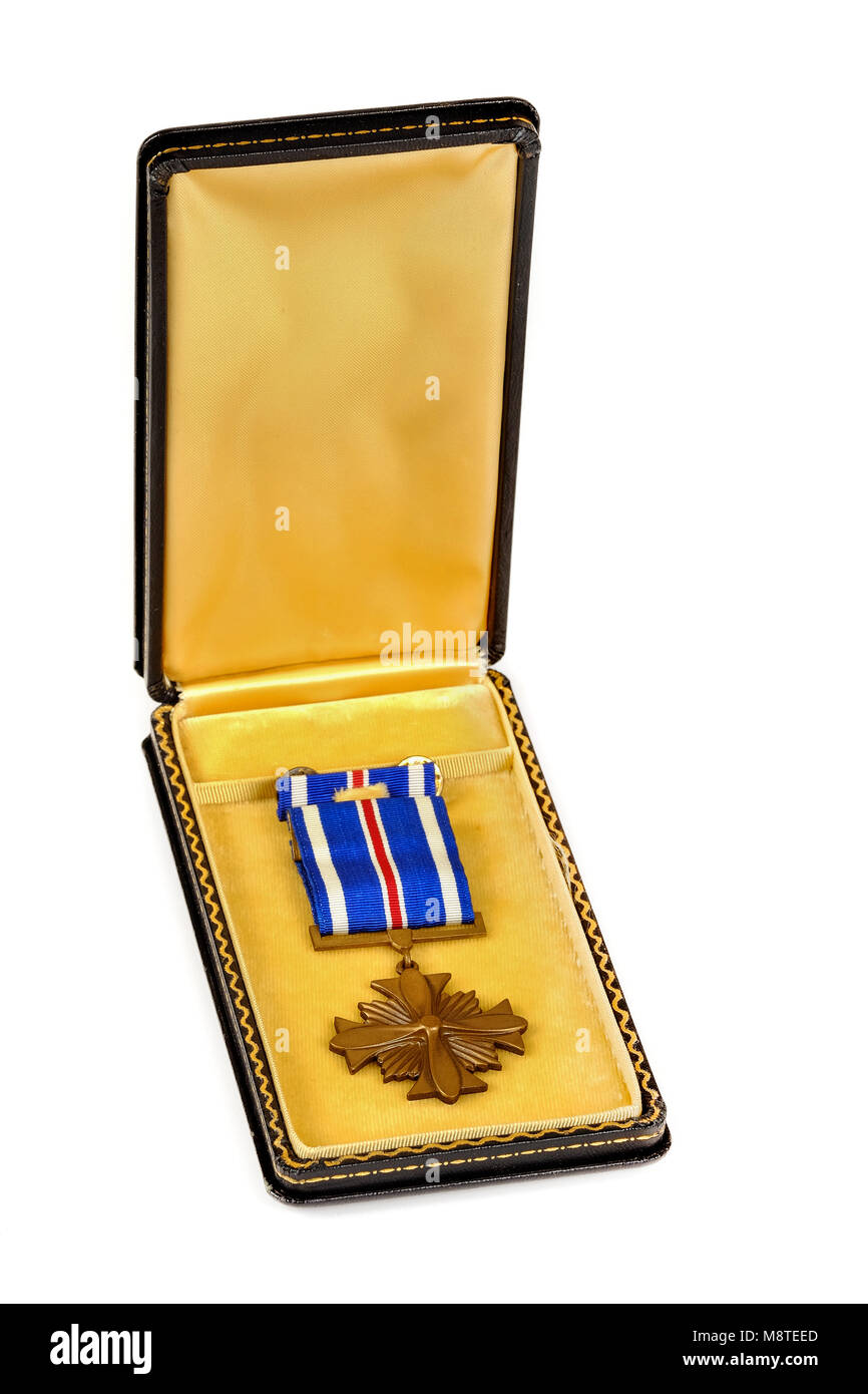 American U.S.A.A.F. Distinguished Flying Cross military decoration issued to Lieutenant Edward C. Kinzler. - Stock Image
