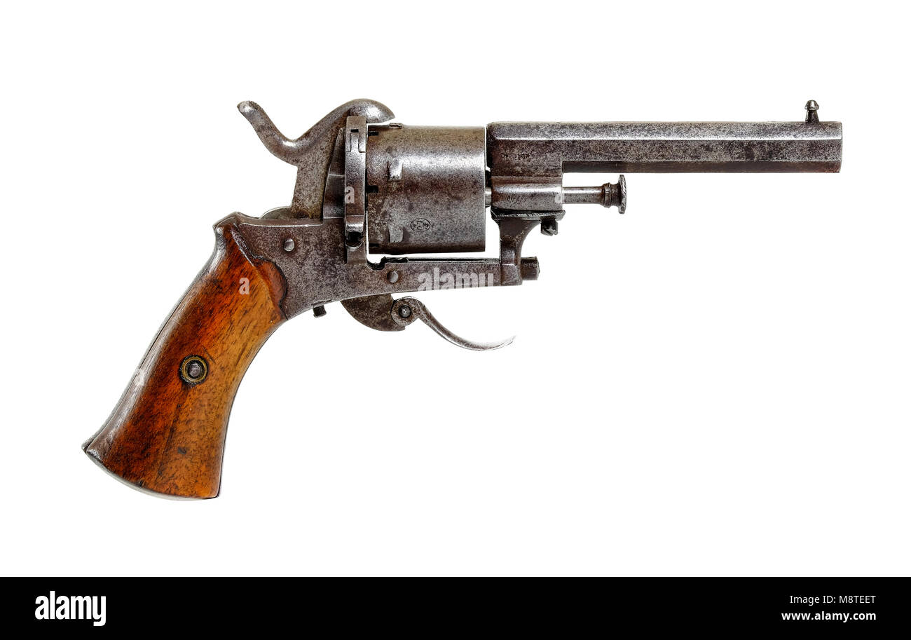 Late 19th Century Antique Belgian Six Shot Rim Fire Pistol With