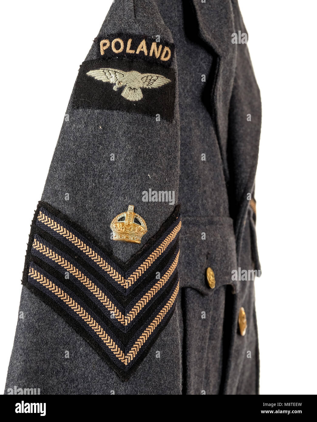 WW2 British RAF tunic worn by a Sergeant of the Polish Air Force - Stock Image
