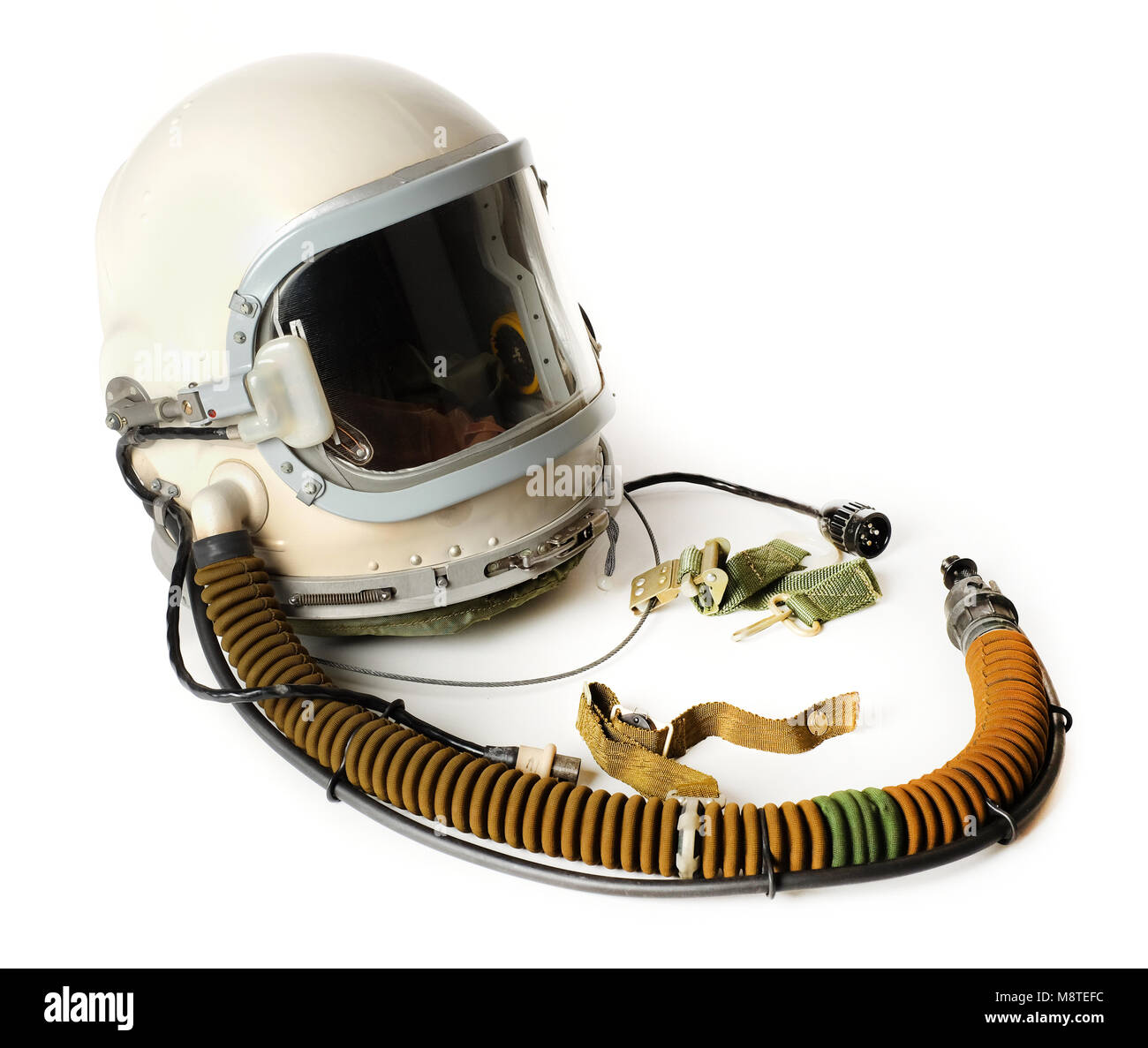 Russian high-altitude helmet (model 111-4MC) and accessories from 1973 used by the East-German Air Force in a Mikoyan - Stock Image