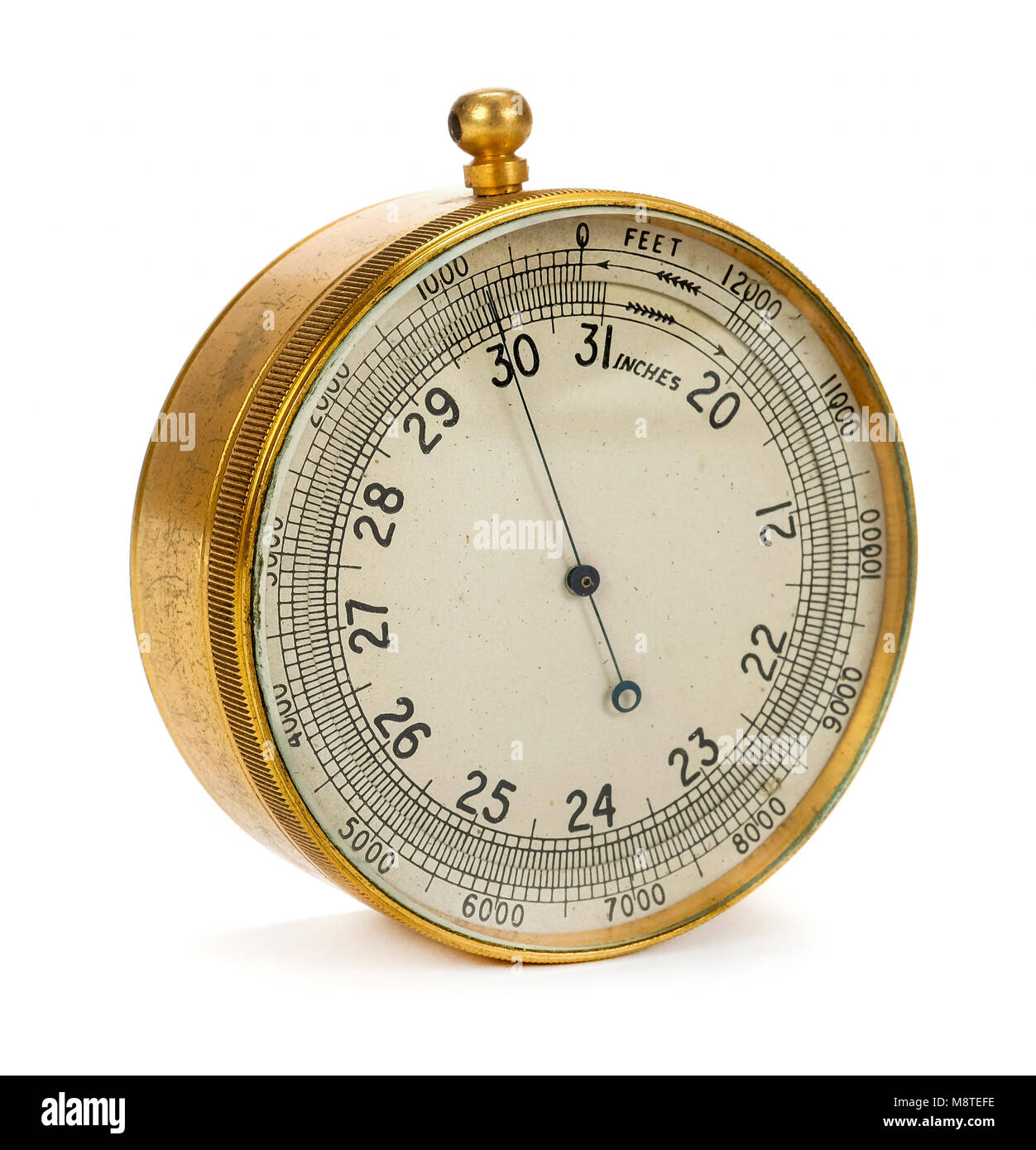 WW2 Battle of Britain period British Air Ministry pocket aneroid barometer made by T. Wheeler of London - Stock Image